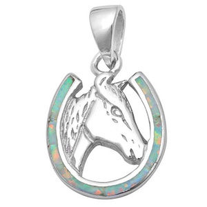 Horse Pendant Lab White Opal 925 Sterling Silver